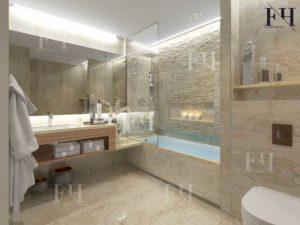 simple small bathroom decorating with a bathtub.