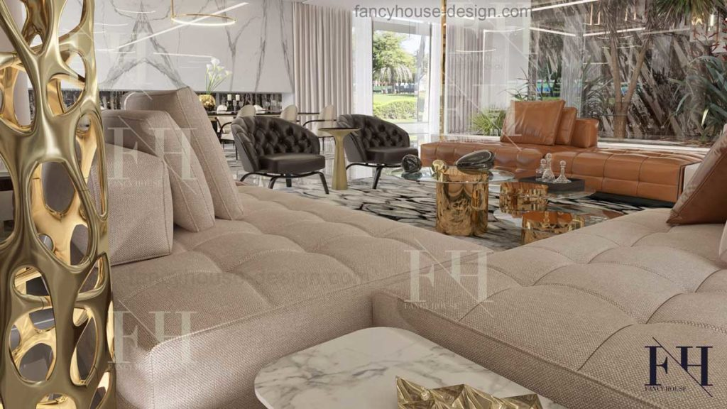 Contemporary style living room decoration solution.