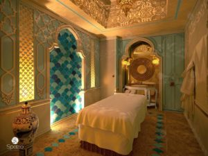 Beauty & Spa salon decoration projection in Arabic style with arches & mosaic cladding.