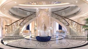 Luxury palace decoration and planning solution with luxurious staircase, marble water-jet, expensive decor.