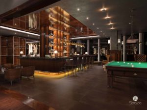 Luxury restaurant project with a bar is made in wooden finish, LED lighting, billiards