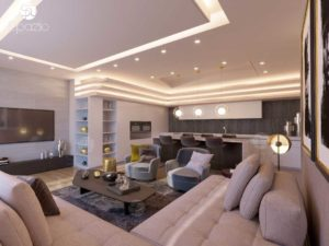 Modern apartment styling projection in white colors, dark wooden cladding on the wall and nice loose furniture.