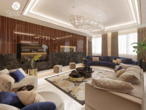 Modern villa living room decoration with expensive finish and sofas.