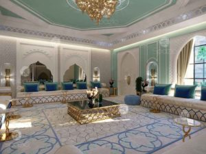 Moroccan style majlis with traditional Arabic seats and Moresque patterns.
