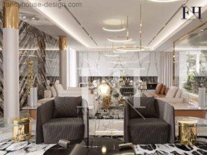 luxury modern living room decoration in a Dubai villa.