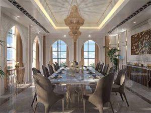 Luxury dining room appearance.