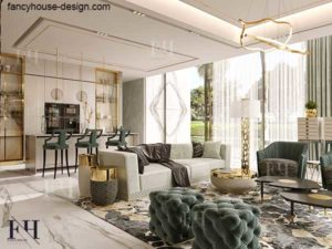 Luxury family living room with sitting, kitchen and dining bar