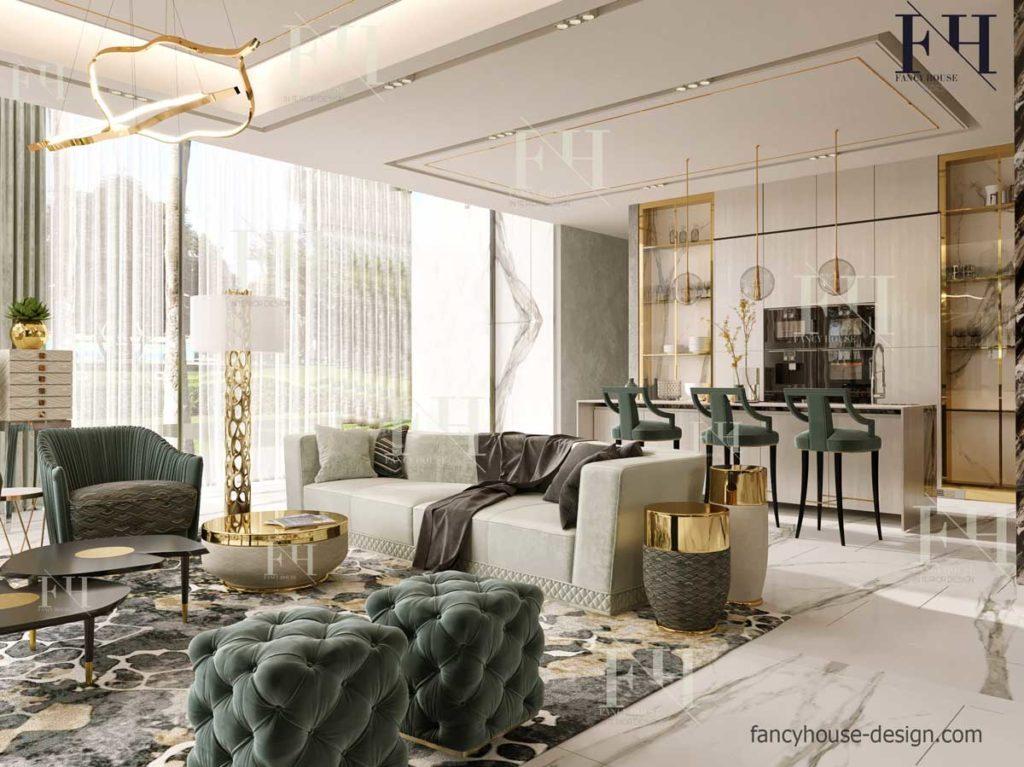 Luxurious living room inside decoration in Dubai house.