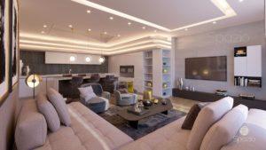 Modern flat living room inside appearance.