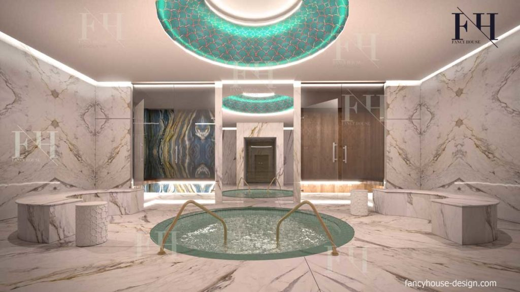 Modern ladies Spa internal decoration in white colors.