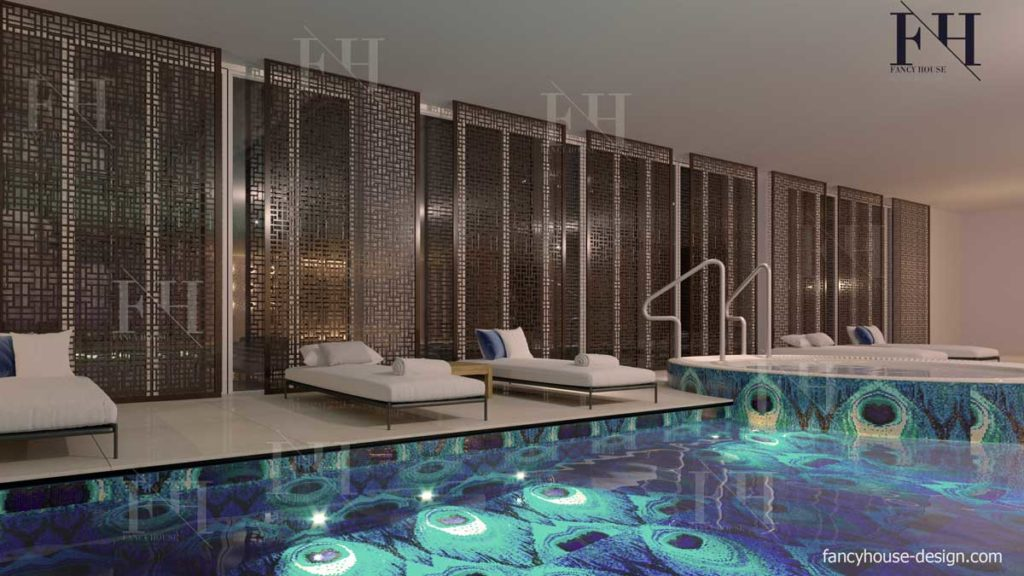 Beauty parlor lounge decoration with a water place
