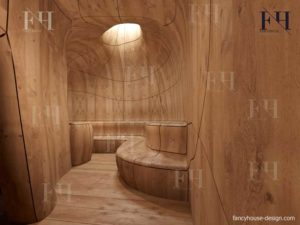 Spa room internal decoration with wood finish.