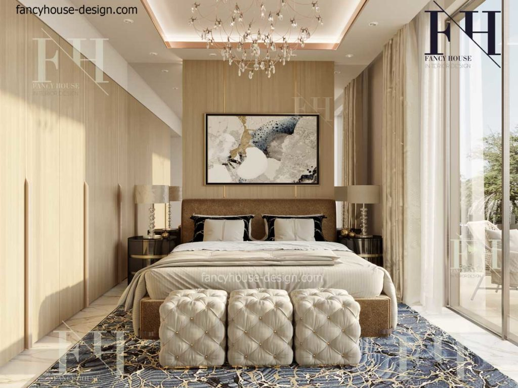 Master bedroom includes a large bed and nice dark colored side tables, a big chandelier.