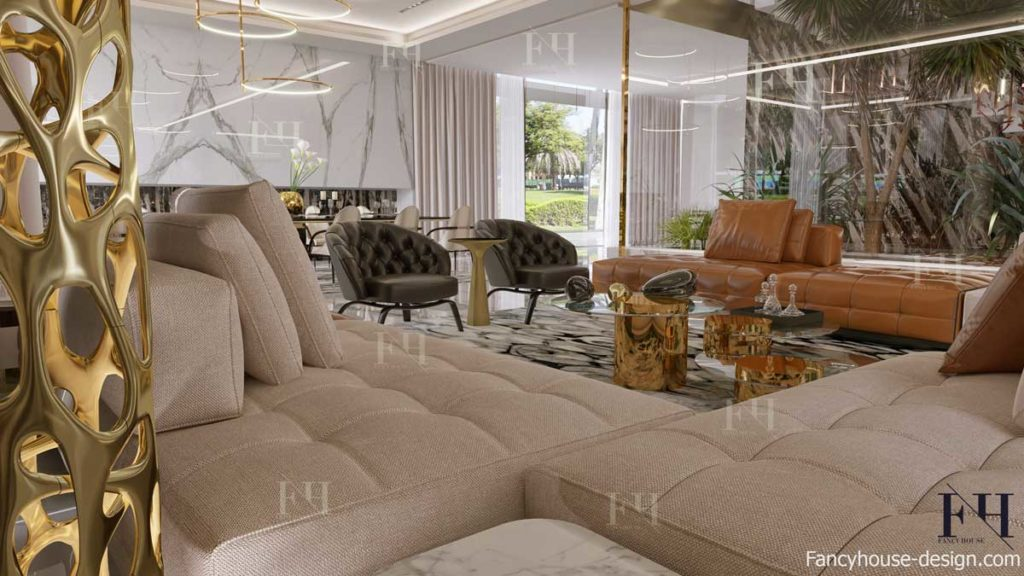 Luxury modern interior decoration for a living sitting