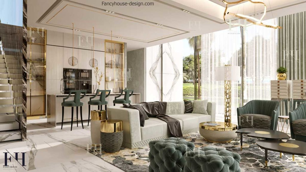 Luxury family sitting room decoration with dining bar.