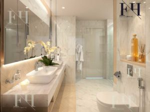 Beautiful bathroom finished with white porcelain tiles.