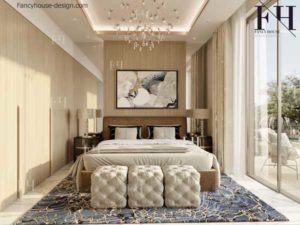 Contemporary bedroom internal appearance in light colors.