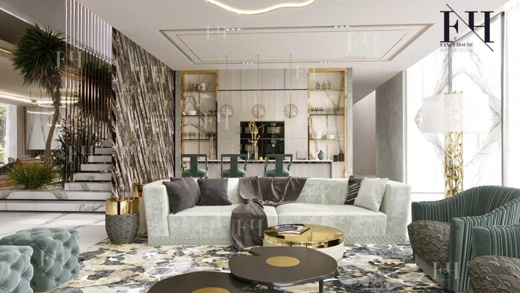 Modern living room in Dubai villa