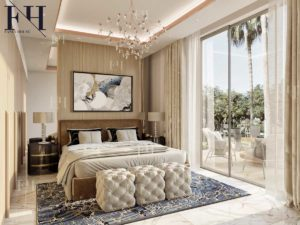 Contemporary bedroom with wooden panels, king size bed and a nice chandelier.