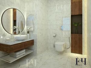 Powder room decoration with white marble tiles.