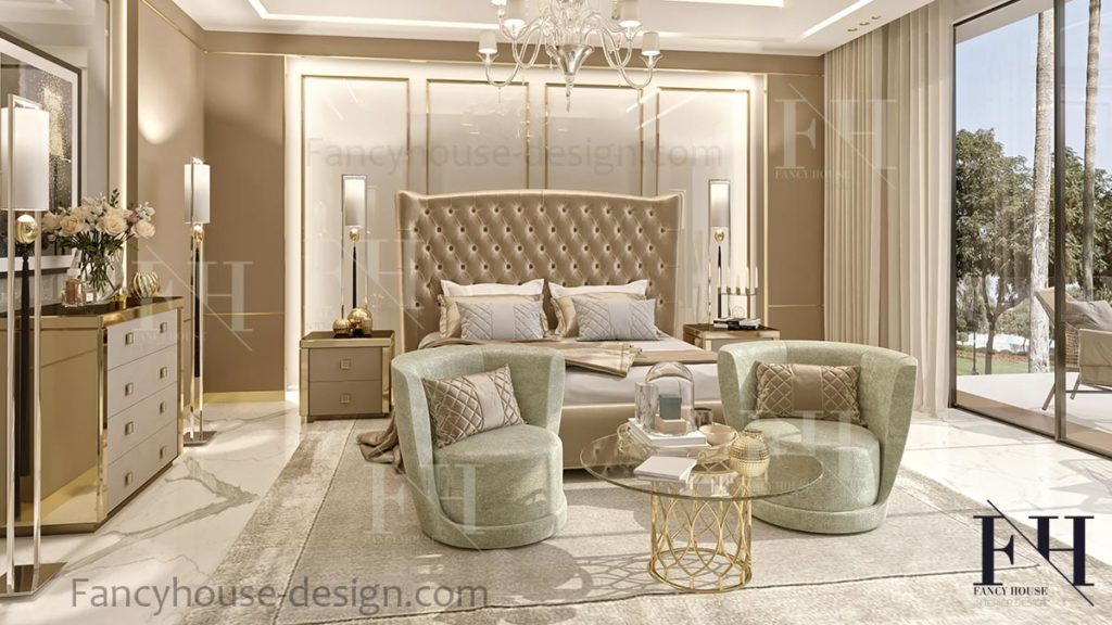Bedroom designing solution with a sitting living area in luxury style.