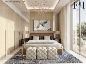 Hotel style bedroom.