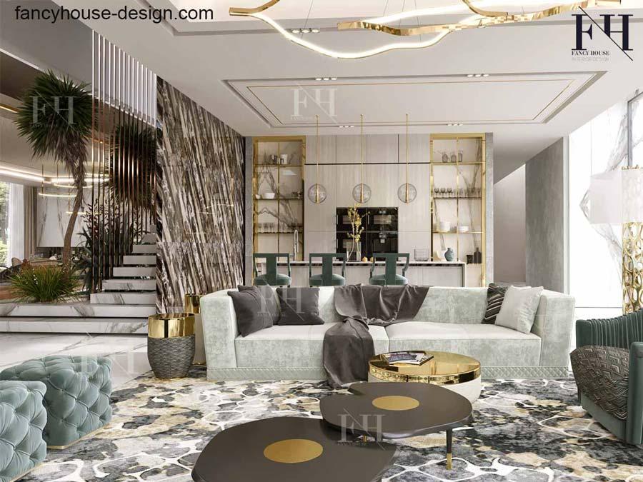 Luxury living room in a Dubai villa.
