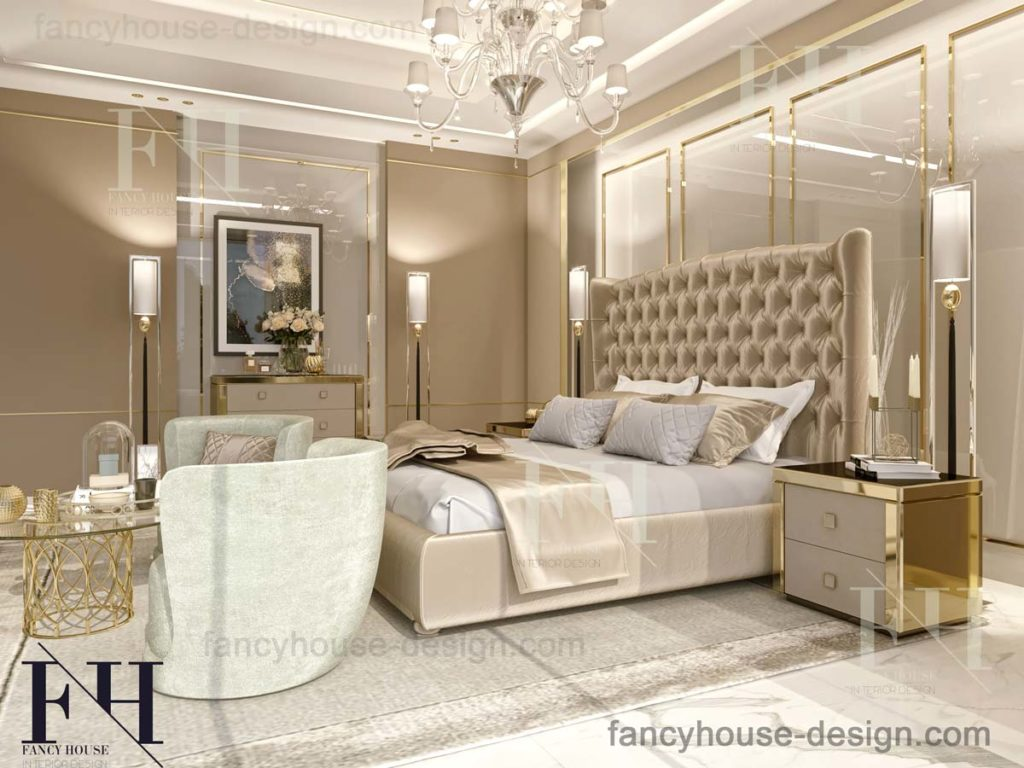 Bespoke high-end master bedroom decoration solution for a couple.