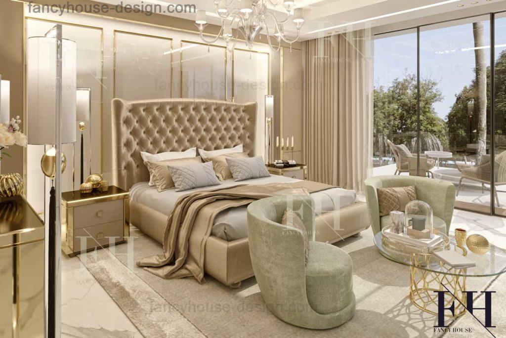 Modern luxury master bedchamber interior decorating in rich style.