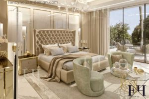 Modern bedroom inner decor solution with a large bed and 2 nice armchairs.